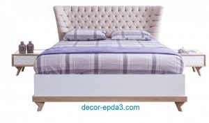 سرير و 2 كومودينو مودرن باللون الابيض