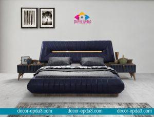 سرير و 2 كومودينو مودرن باللون الكحلي