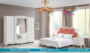 تصميم رائع لغرفه نوم كلاسيك باللون المشمشى والابيض