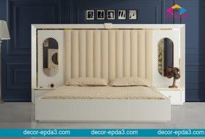 سرير و 2 كومودينو باللون الابيض