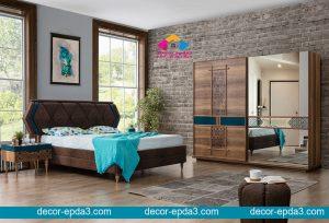 غرفة نوم مودرن باللون البني و دولاب و 2 كومودينو و سرير