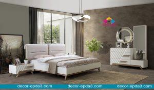 غرفة نوم مودرن باللون الابيض و تسريحه و 2 كومودينو و سرير