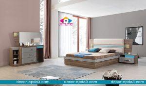 غرفة نوم مودرن باللون البني و كومودينو و تسريحه و سرير