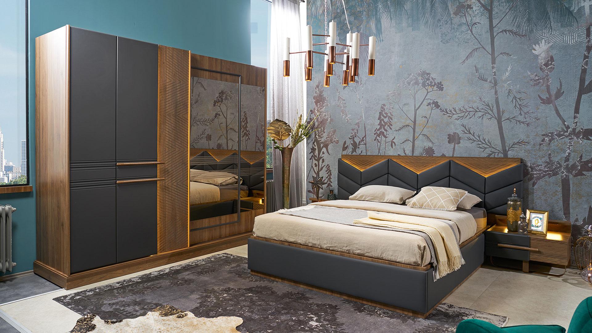 غرفة نوم مودرن باللون الاسود