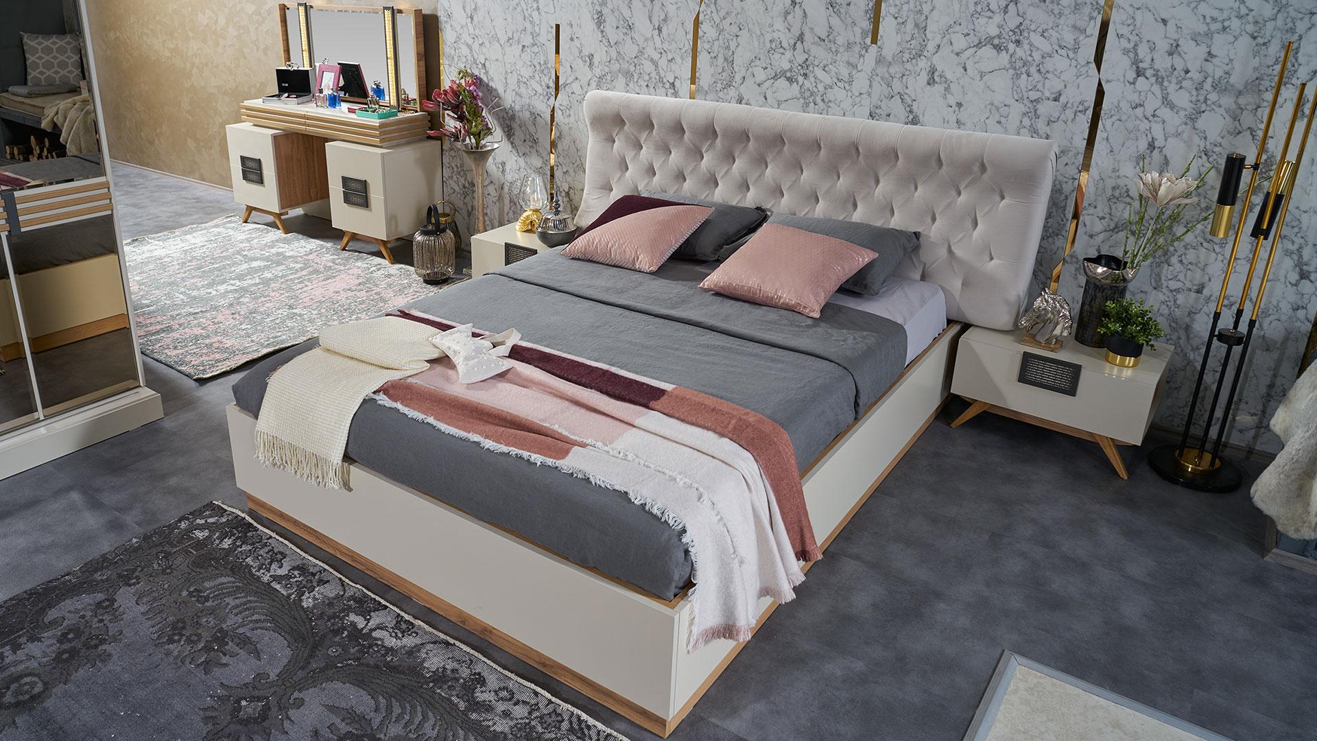 سرير و 2 كومودينو و تسريحه مودرن باللون الابيض