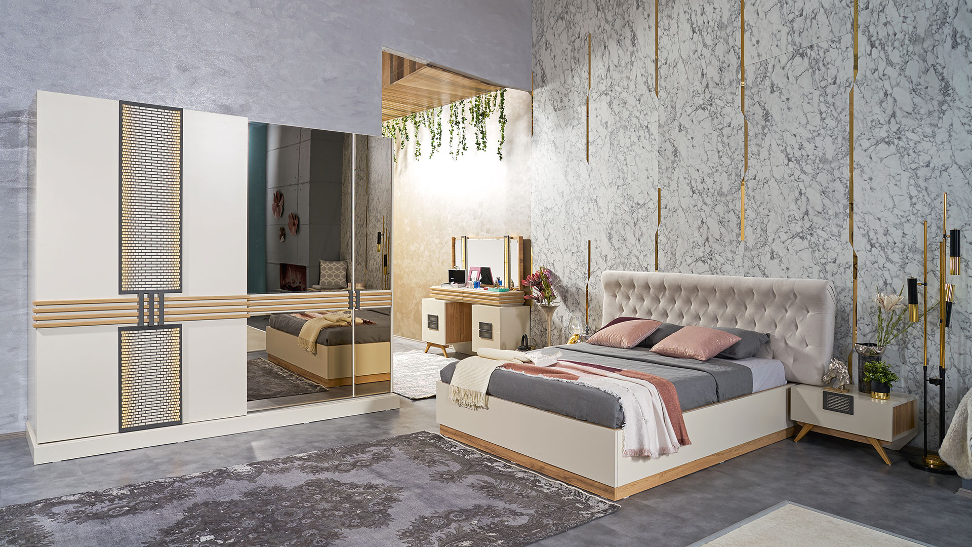 غرفة نوم مودرن باللون الابيض و سرير و دولاب و تسريحه