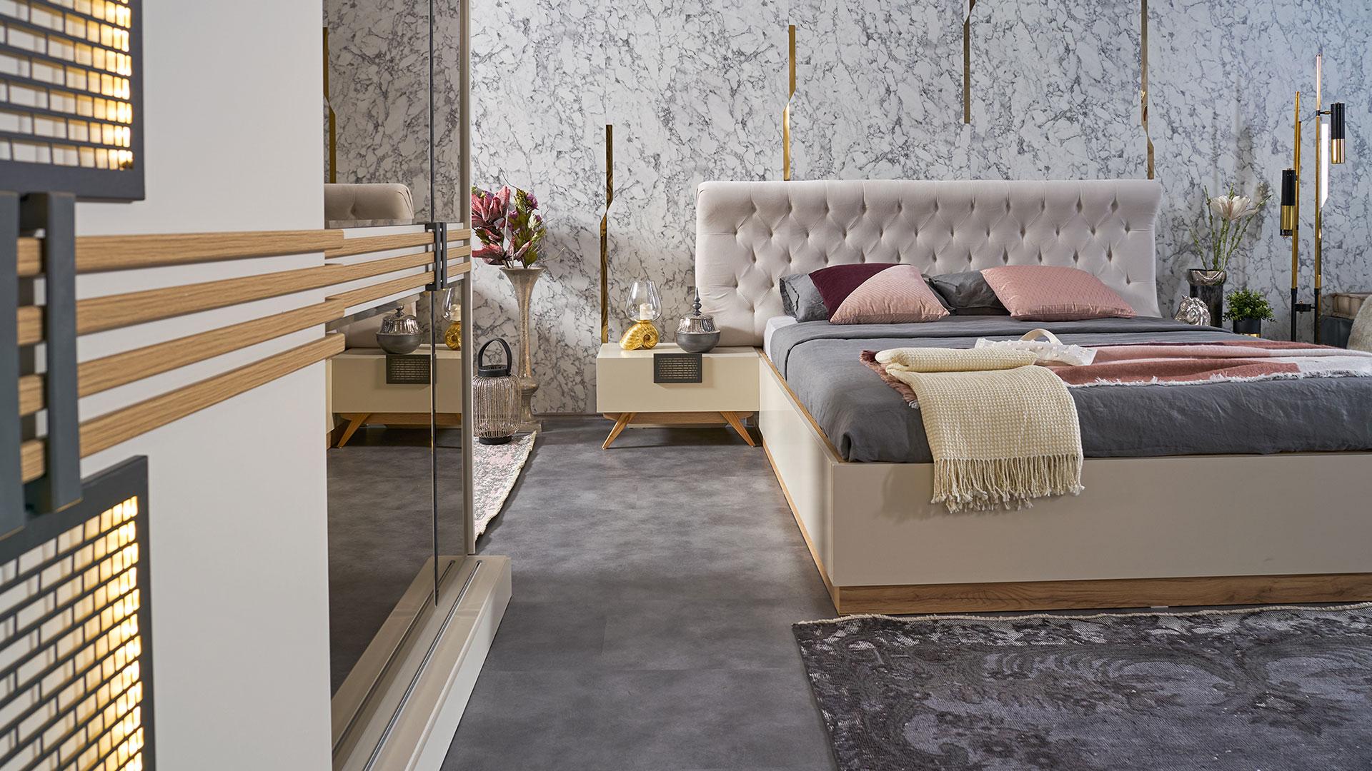 سرير مودرن باللون الابيض