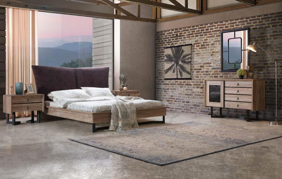 غرفة نوم مودرن باللون الابيض و سرير و تسريحه