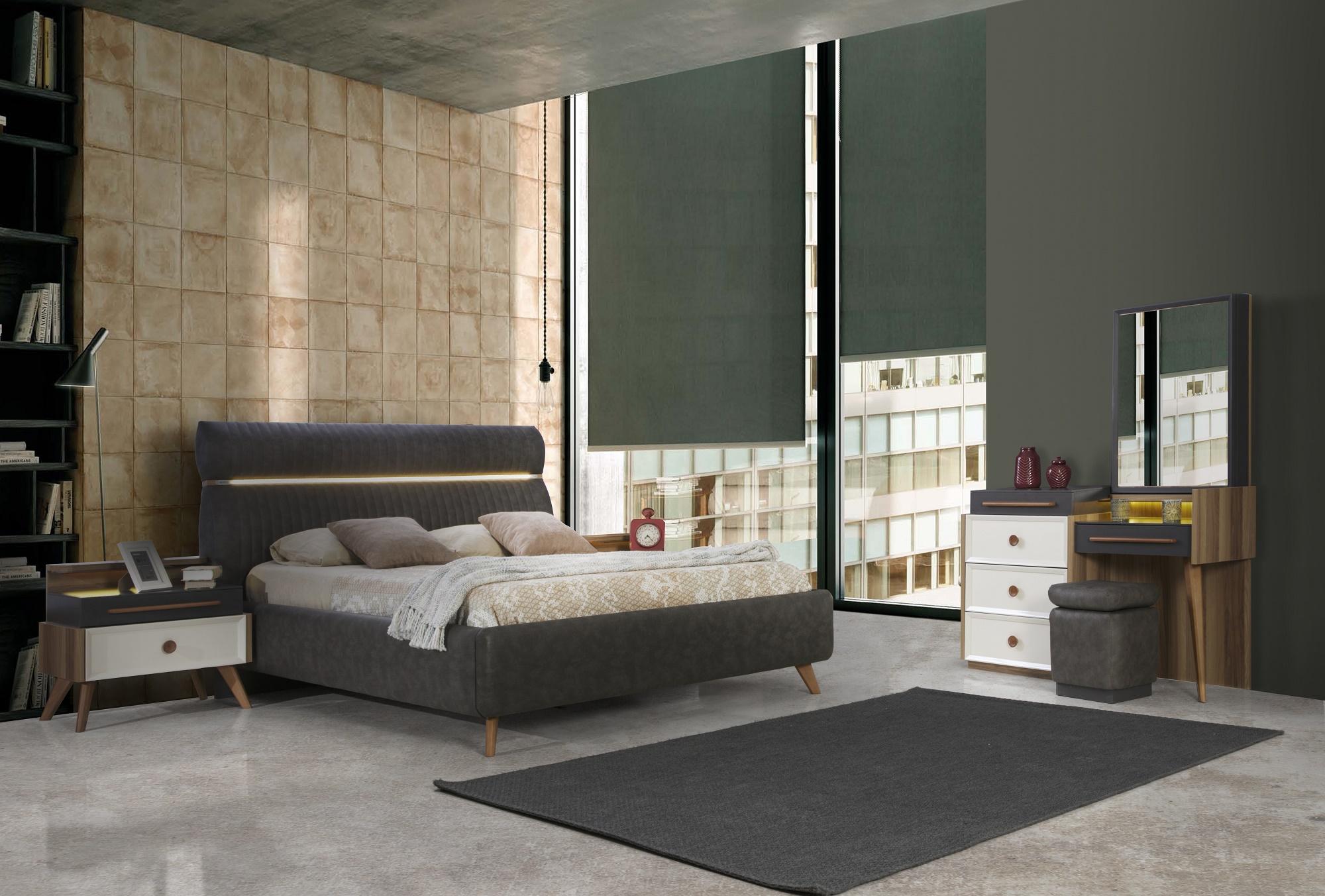 غرفة نوم مودرن باللون الابيض و الاسود و تسريحه و كومودينو