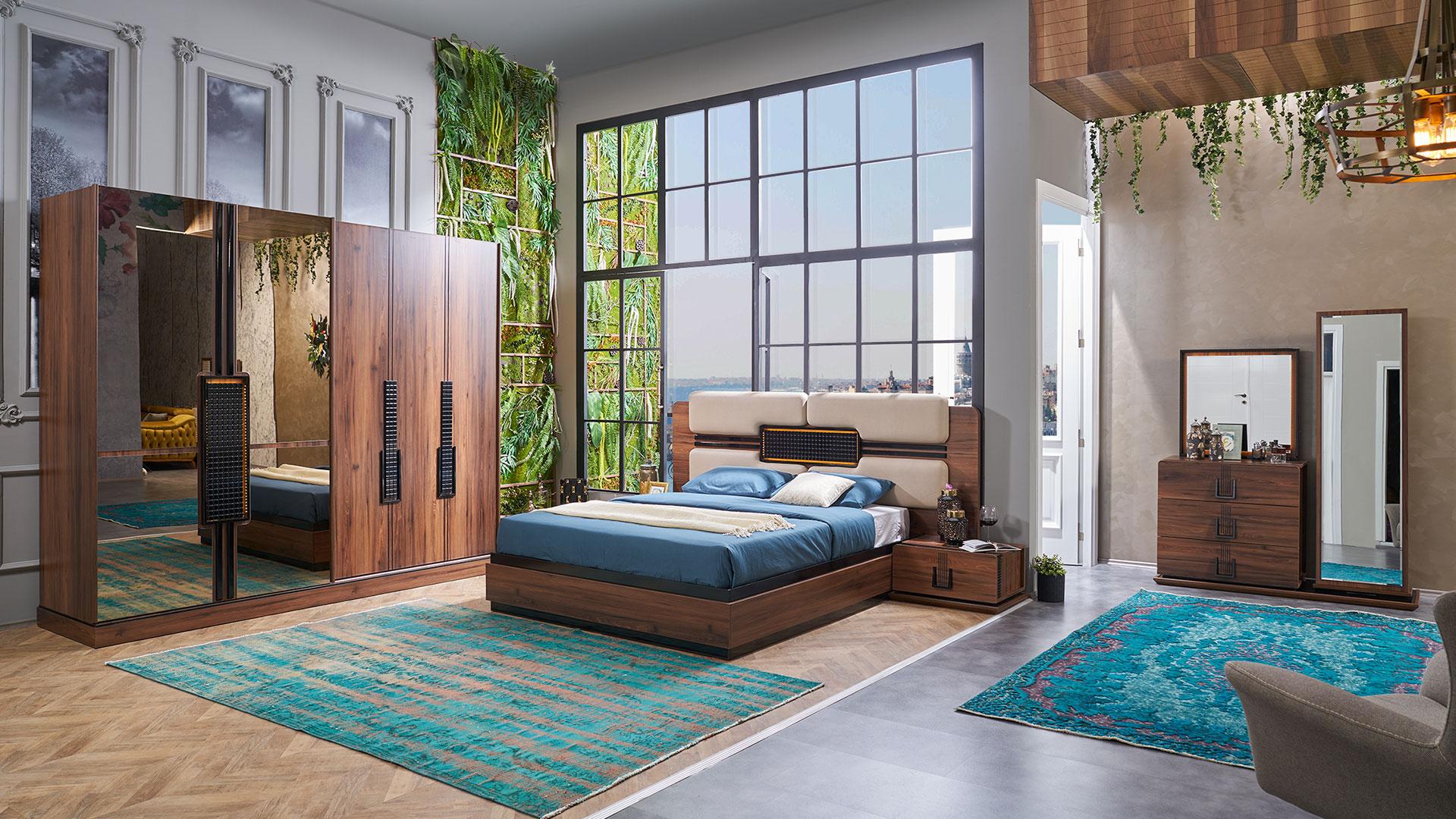 غرفة نوم مودرن باللون البني و الازرق