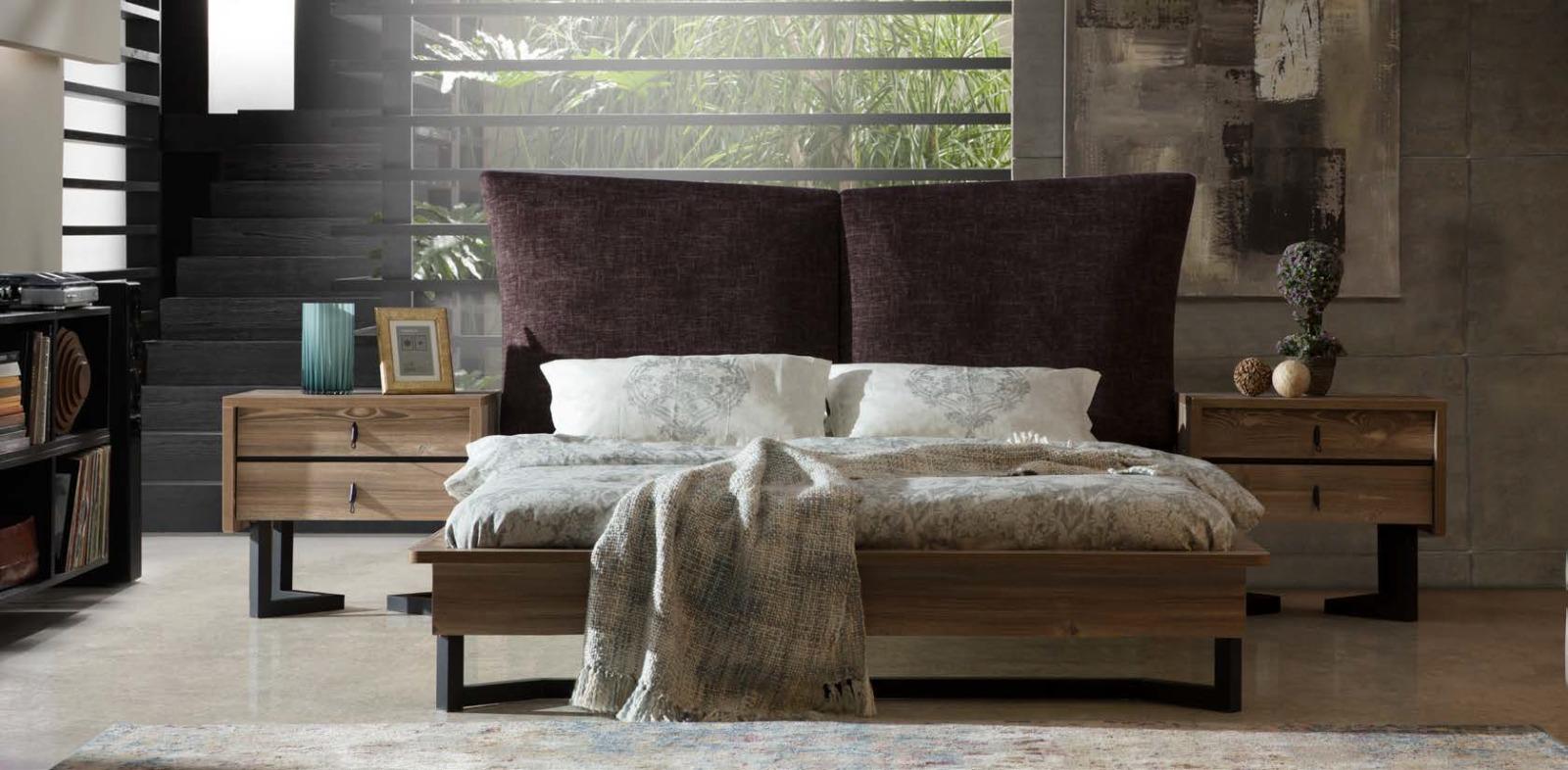 سرير و 2 كومودينو مودرن باللون الابيض و البني