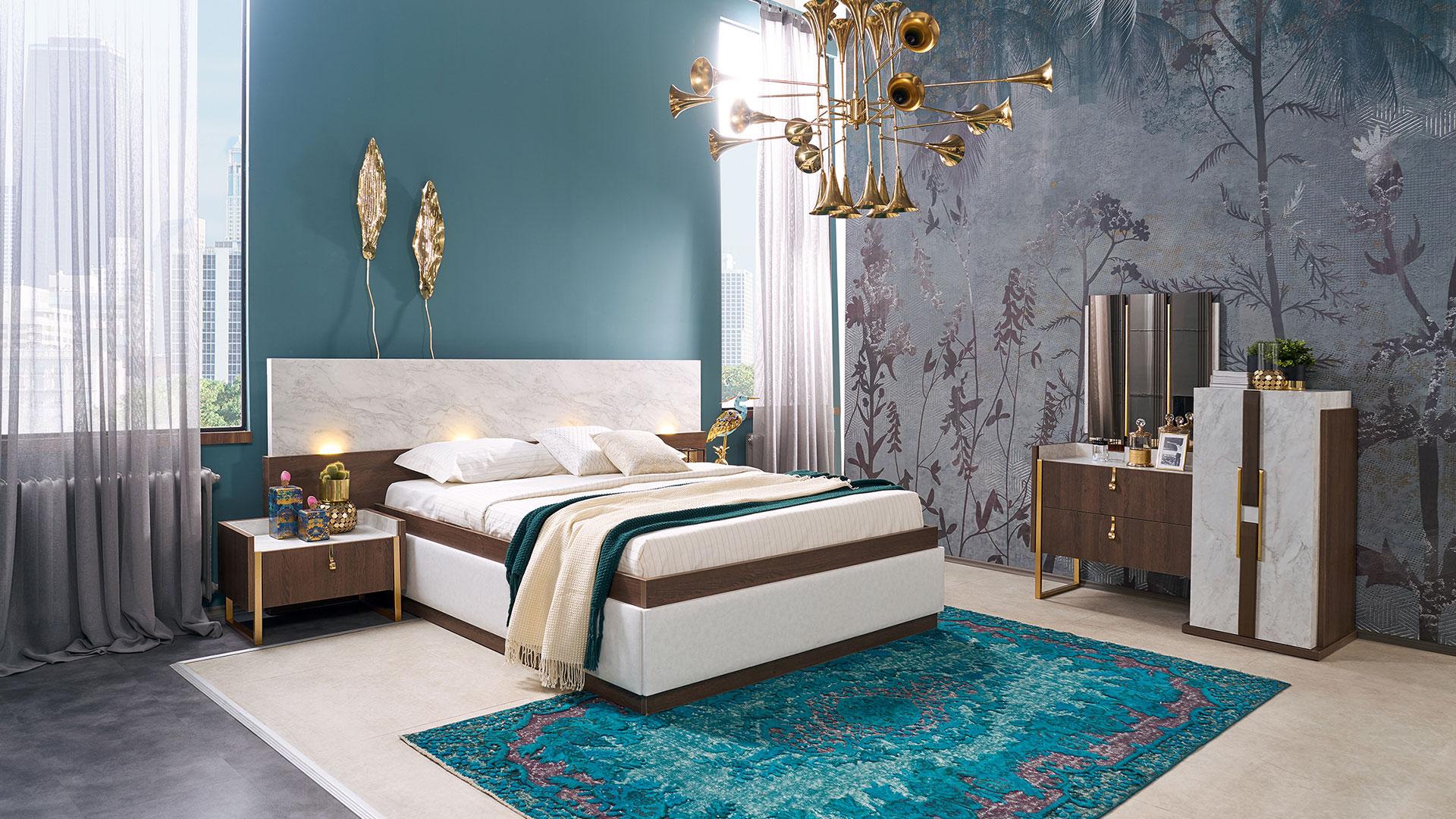 غرفة نوم مودرن باللون الابيض و سرير و تسريحه و كومودينو